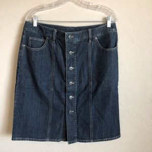 NWOT Talbots Dark Wash Button Down Denim Skirt